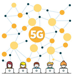 5g internet high-speed social media networking vector