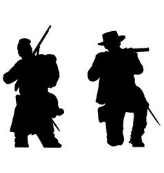 american civil war soldiers silhouettes vector image