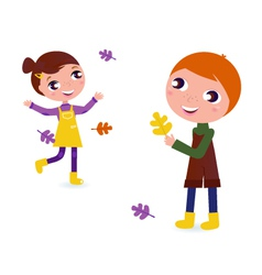 autumn kids vector image