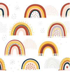 Baby rainbow seamless pattern vector