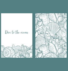 backgrounds with seashells vector image