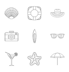 Beach icons set outline style vector