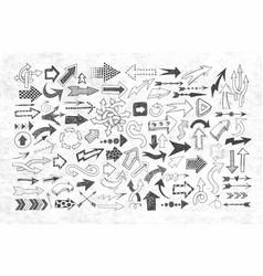 big collection doodle sketch arrows vector image