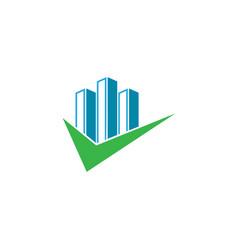 big skyscrapers check mark for logo design vector image