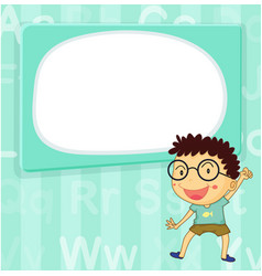 Border template with happy boy in blue background vector