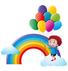 boy holding balloons with rainbow background vector image