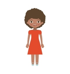 brunette girl with dress and curly hair vector image