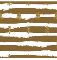Brushstrokes and trees gold glitter paint seamless vector