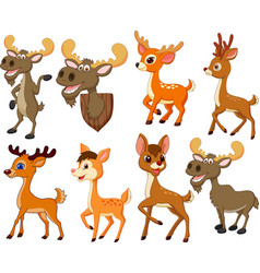Cartoon deer and moose collection set vector