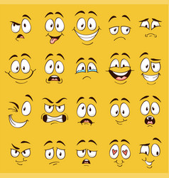 Cartoon faces funny face expressions caricature vector