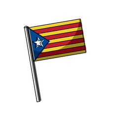 catalonia flag post nationalism symbol vector image