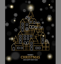 christmas and new year card gold outline city vector image