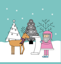 christmas santa check list gifts reindeer and tree vector image