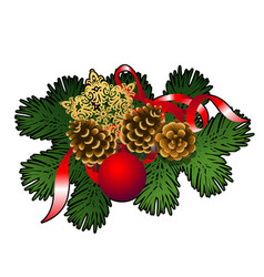 christmas sketch with decor of fir twigs with red vector image