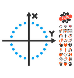 Circle plot icon with love bonus vector
