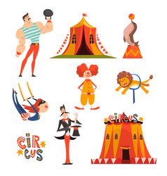 collection circus characters juggling clown vector image