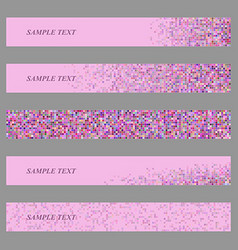 Colored square mosaic web banner design set vector