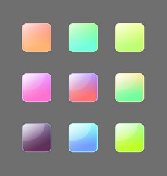 colorful rouded square buttons set vector image