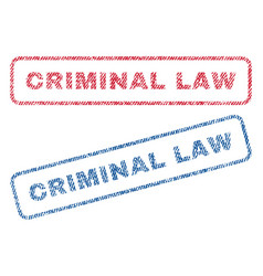 Criminal law textile stamps vector