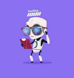 cute robot loading wear glasses isolated icon on vector image