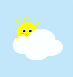cute sun looking out from behind a cloud vector image