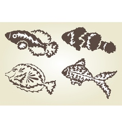 Decorative fishes set vector