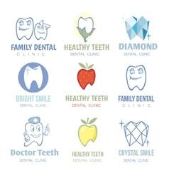 Dental and stomatology logos set vector image