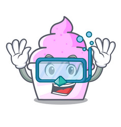 diving ice cream paper cup character cartoon vector image