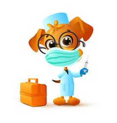 Dog doctor in medical mask holds syringe vector