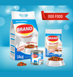 Dog food brand ad realistic vector