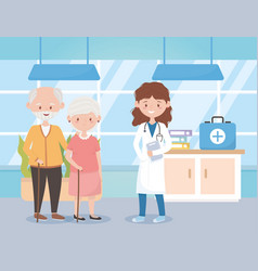 Female physician and old couple in consult room vector