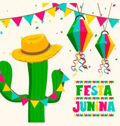 festa junina greeting card cactus and hat vector image