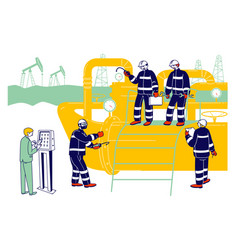 Gas industry concept with male characters working vector