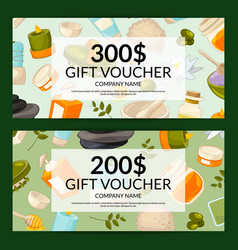 gift card templates with beauty and spa vector image