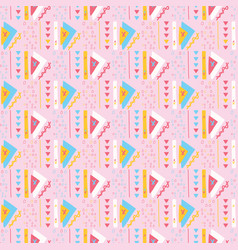 girly pink triangles memphis style geometric vector image