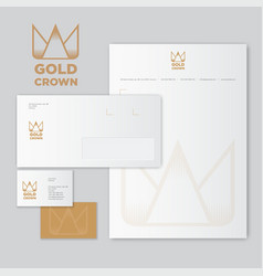 Gold crown origami monogram flat identity vector