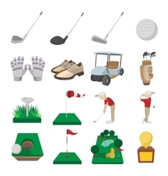 Golf cartoon icons set vector
