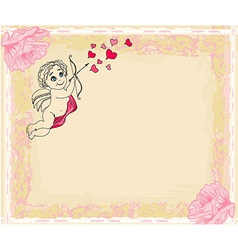 happy valentines day card with cupids vector image