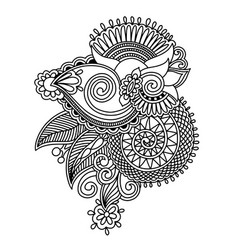 Henna paisley flower design hand drawing vector