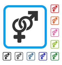 Heterosexual symbol framed icon vector