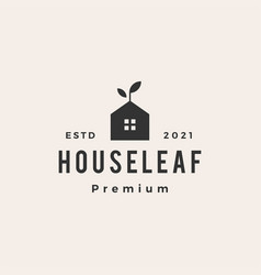 house leaf sprout hipster vintage logo icon vector image
