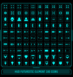 hud fututistic collection icons element set green vector image