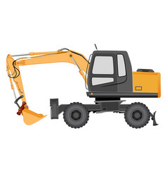 Image of a yellow excavator on a wheeled chassis vector