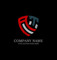 Initial at letter logo inspiration vintage shield vector