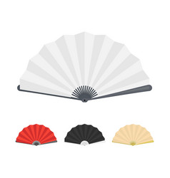 japanese folding paper fan color set vector image