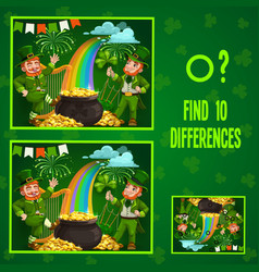 Kids game find ten differences with leprechauns vector