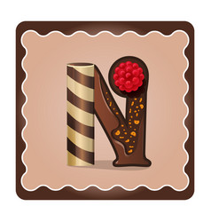 Letter n candies chocolate vector
