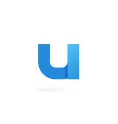 letter u logo alphabet on white background vector image