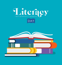 Literacy day of kids school books vector