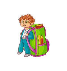 little schoolboy with big backpack and school vector image